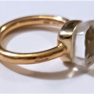 Pomellato Nudo Clear Quartz 18K Ring Size 7.5